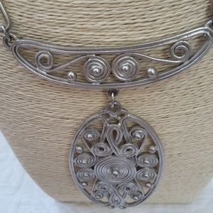 BEAUTIFUL Solid WIRE WORK Statement NECKLACE